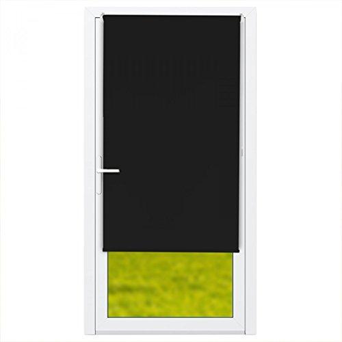 Klemmfix Verdunkelungsrollo für Türen/Balkontür :: Rollos für innen ohne Bohren 100x210 cm schwarz