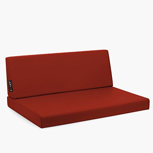 CAB Set Reforma Taupe Coussins Tissu Hydrofuge déhoussable mis.82 x 122 épaisseur cm.11 Dossier 40 x 122 Rouge