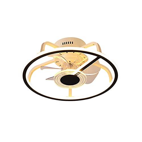 Ventilador de Techo Con Función de Luz, Luz de Techo LED Moderna Lámpara de Techo Regulable Con Velocidad de Viento Ajustable de 52W Ultra Silencioso Control Remoto Sala de Estar Dormitorio, ,Negro