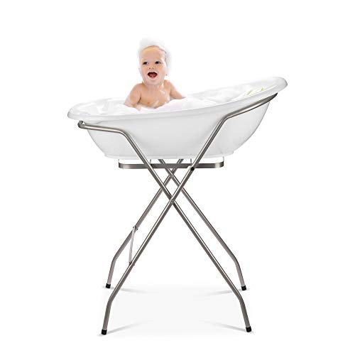 BabyKajo Bañera Plegable Bebé con Soporte - Set de 4 Piezas para Recién Nacidos - Banera con Termometro, Soporte, Asiento de Bañera Bebe, y Manguera de Desagüe - Ayuda Antideslizante