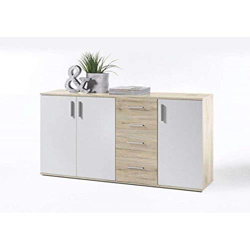 AVANTI TRENDSTORE - BEA - Comò e cassettiere, in Legno Laminato e Bianco, Disponibile in 2 Diversi Colori e 3 Diverse Dimensioni (Quercia Sonoma - Bianco, 160x82x35 cm)