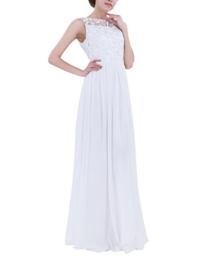 ACSUSS Women's Crochet Lace Chiffon Wedding Bridesmaid Evening Gown Prom Maxi Dress White 4 (Apparel)