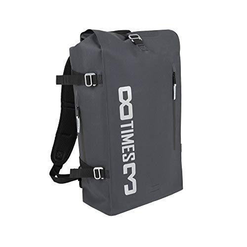 8times3 Wasserdichter Rolltop Rucksack I Fahrrad Rucksack | herausnehmbarer Laptopschutz I 30 Liter schwarz