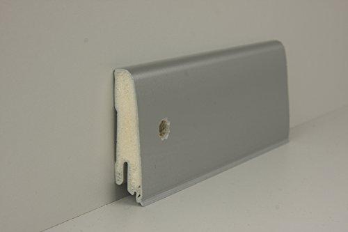 Döllken Abschlussleiste Alu Metallic | robuste PVC Leisten 60mm ✓Clip Leiste ✓Küchenleiste ✓Feuchtraum geeignet ✓Gummilippe | Kunststoff Weichsockelleiste Alu Metallic | Fussleisten Küche 18x60x2500mm