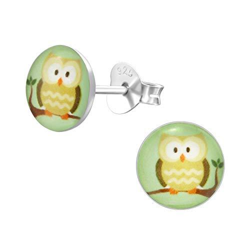 Monkimau Orecchini ragazza Gufo Orecchini realizzati in argento sterling 925