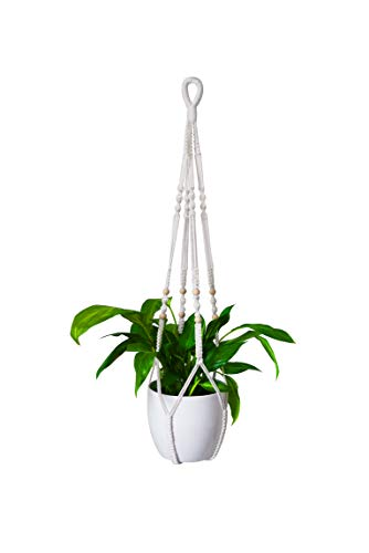 INALU Makramee Blumenampel - Baumwollseil Pflanzenampel - Hängeampel für Blumen - Boho Pflanzenhänger Wand Decke Balkon - Innen und Außen - 89 cm