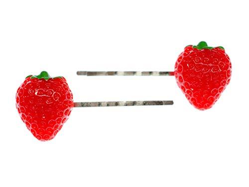 Miniblings 2er Set Erdbeere Haarklammer Haarspange Beere rot Frucht Obst Sommer