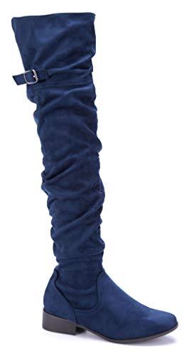 Schuhtempel24 Damen Schuhe Overknee Stiefel Stiefeletten Boots blau Blockabsatz Schnalle 3 cm