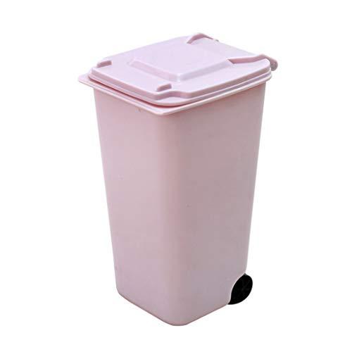 Mini Desk Trash Bin,Plastic Trash Can Storage Bin Desktop Organizer Pen Pencil Holder (Pink)