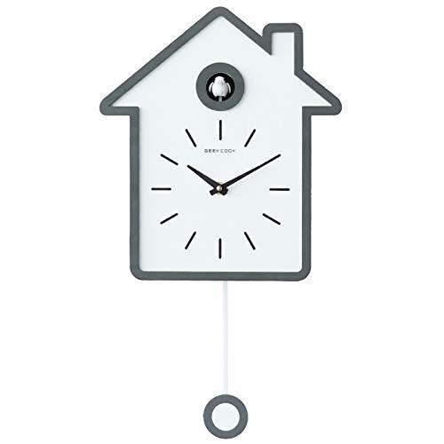 Reloj De Pared Estilo NóRdico Moderno Simple Reloj Cucú Forma De La Casa Casa Decir La Hora NúCleo Premium Durable Belleza Tridimensional Exquisito Los 27 * 48cm,Gray