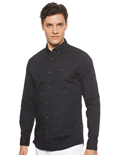 Tommy Hilfiger Herren CORE Stretch Slim POPLIN Shirt Freizeithemd, Schwarz (Flag Black 083), Large