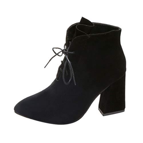 Las mujeres de las señoras botines de tobillo puntiagudo botas sólidas ocasionales al aire libre zapatos de caminar botas de plataforma botas de tacón grueso botas de tacón bajo