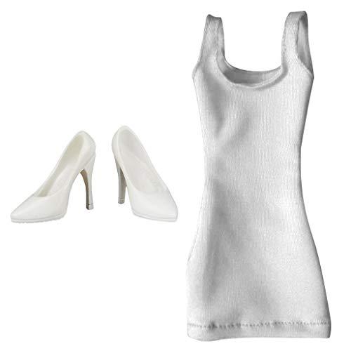 ZSMD 1:6 vrouwelijke figuren zomerjurk met hoge hak schoenen voor vrouwen actieffiguren - wit