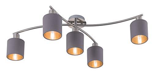 Trio Leuchten Garda 605400541 Garda Deckenleuchte, Metall, Nickel Matt, E14, Stoffschirm Tupe/Gold