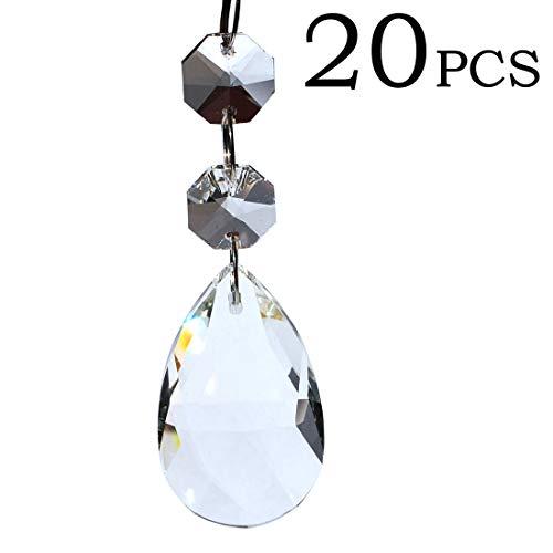 Perline di cristallo per lampadario in vetro trasparente, per matrimoni, feste, creazioni fai da te, decorazioni natalizie, 6 metri, 20 Pcs