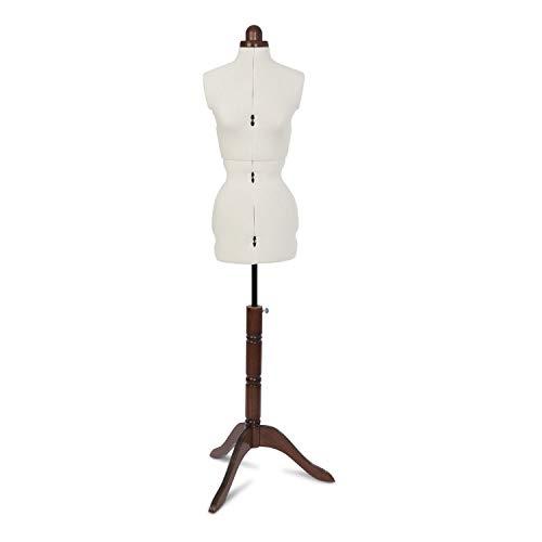 Adjustoform Lady Valet 8 Part Dress Form, Ecru Textured Poly-Cotton Fabric, Small