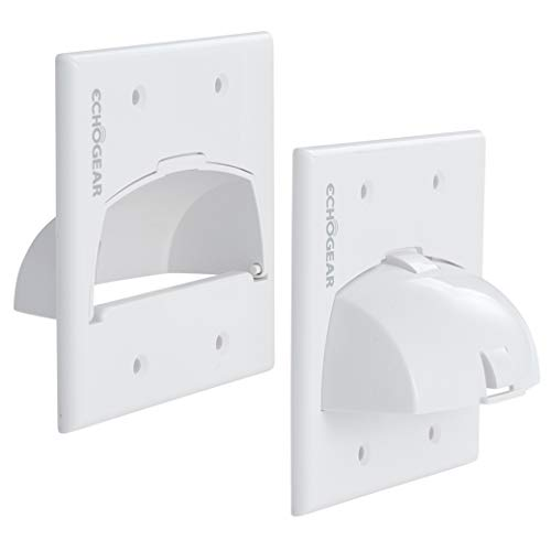 Echogear in Wall Cable Hider for Wall Mount TV - Dual Gang Pass Through Pair with Drywall Brackets Included - Manage 16 Low Voltage Cords Behind The Wall - Quick Install with Wall Template