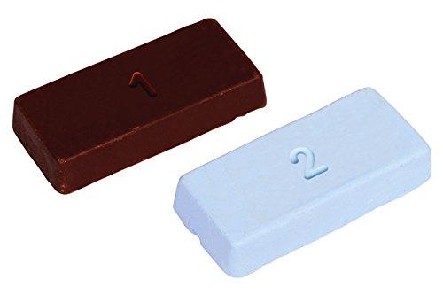 Wolfcraft 2134000 (L) pastas para preparar y terminar de pulir marrón: para prepulido, azul: para pulido final PACK 2, Set de 2 Piezas