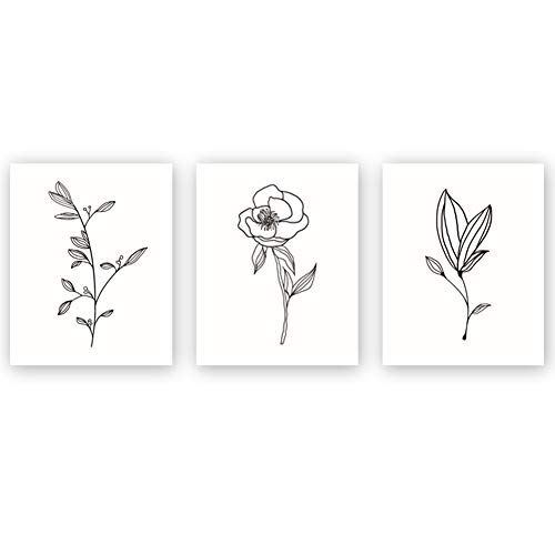 Unframed Abstract Flower Art Print Nordic Style Rose Leaf Art Wall Plant Painting, Set