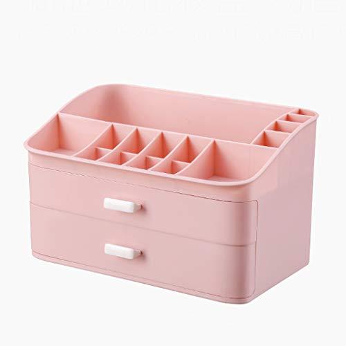 Cosmétique Boîte De Rangement en Plastique Double Tiroir Bureau Rouge À Lévres Bijoux Produits de Soins de La Peau Produits De Stockage Affichage Boîte 29.8 * 20 * 17.5 cm FANJIANI (Color : Pink)