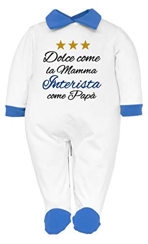Pijama de bebé nacido para fanáticos de la Juventus, Interistas y Milanistas con frase divertida bordada, dulce como la madre y aficionado como papá. Pelele de algodón Inter 0-3 Meses