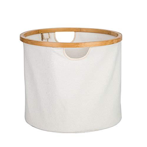 DJFIOSD Household Laundry Basket, Modern Cotton And Linen Foldable Bamboo And Wood Breathable Toy Storage Basket Natural Laundry Basket with Handle,White