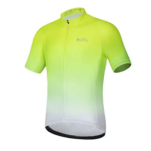 Rotto - Maglia da ciclismo a manica corta per uomo (3X-Grande (3Xl), D1 Verde Fluorescente E Bianco.)
