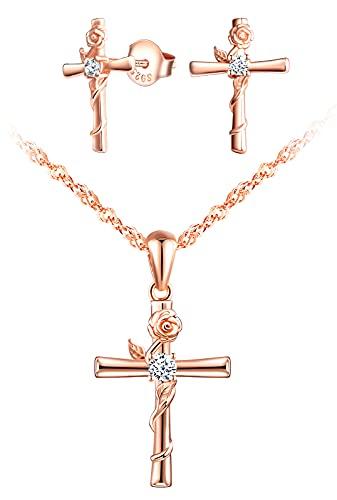 INFINIONLY Collare y Pendientes para mujer niña, Juegos de joyas de plata 925, collar pendientes cruzados, collar y pendientes de cruz entrelazadas con la rosa, circón con incrustaciones, oro rosa