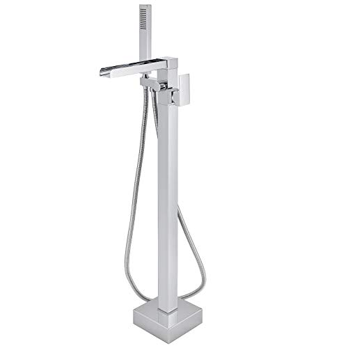 Aolemi Polish Chrome Freestanding Waterfall Bathtub Faucet Floor Mount Tub Filler Bathroom Standing Brass Tap Swivel Spout Single Handle with Hand Sprayer