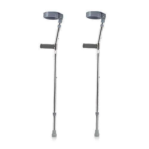 HGBKJUO Muleta, Bastones para Caminar Regulables de Aluminio para Adulto Ortopédica Antebrazo Caña Retráctiles para Ancianos Antideslizante con Empuñaduras Acolchadas Pack de 2,Gris ⭐