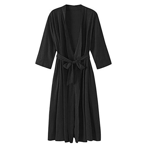 Pijama Kimono Mujer Bata Corto Ropa de Dormir Algodón Verano Batas y Kimonos Sexy y Elegante,Bata de Albornoz de Manga 7