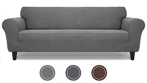"""LuckIn Stretch Sofa Covers for 3 Cushion Couch from 72"""" to 85"""", 1 Piece Grey Sofa Slipcover Textured for Dogs and Cats, Furniture Protector with Non-Slip Foam"""