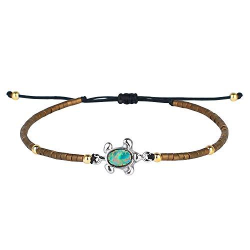 KELITCH Armbänder Zum Damen Männer Japanisch Importieren Perle Empfindlich Schildkröte Handgefertigt Einstellbar String Armreif Freundschaft Charme Armband Zum Mädchen (Brown)