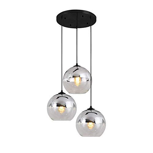 Pendelleuchte Kugel, E27 Hängelampe Modern HöHenverstellbar Esszimmer Wohnzimmer Schlafzimmer Kronleuchter Glas Lampshade