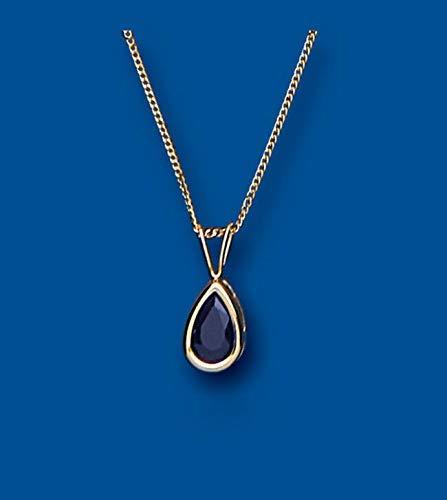 London Jewellery Quarter Zafiro Oro Amarillo Colgante Pera Collar Contraste 18' Cadena Británico Hecho