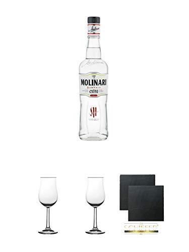 Molinari Sambuca 0,7 Liter + 2 Bugatti Nosing Gläser mit Eichstrich 2cl und 4cl + 2 Schiefer Glasuntersetzer eckig ca. 9,5 cm Ø