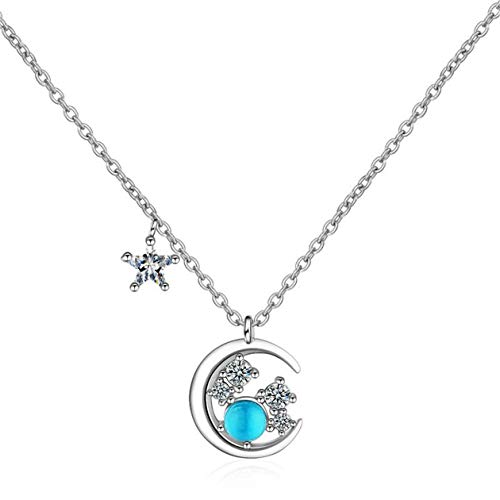 Yikoly Women's / Girls' Necklace Silver 925 Glitter Zirconia Blue Opal Bling Moon Fashion Y Chain with Pendant Charm Happy Necklace as Gifts Adjustable