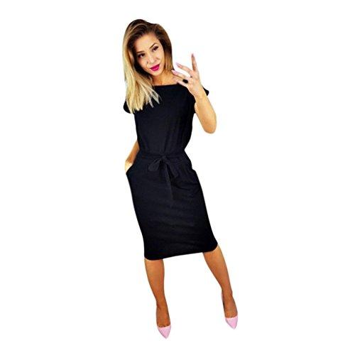 Lilicat Damen Casual Kleid Sommer Kleid Mit Tasche Damen Kurzarm Abendkleid Partykleid Minikleid Midikleid Strandkleid Retro Vintage Elegant Rundhals Kleid Sport Kleid (S, Schwarz)