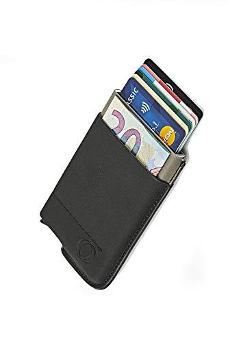 NeroAvorio Tarjetero para Tarjetas de Crédito, Bloqueo RFID, Monedero Fino Aluminio y Cuero, Negro, Minimalista, Sistema Pop-UP para 6 Tarjetas con Bolsillos Exteriores para Billetes