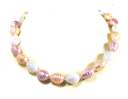 Beautiful necklace made of tri-colour shell pearls.