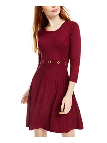 BCX Burgundy Medium Junior A-Line Dress Grommet Fit & Flare Red M