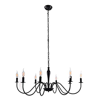 Farmhouse Chandelier 8 Lights Vintage Country Chandeliers Classic Candle Hanging Light Industrial Pendant Lighting Fixture, Black