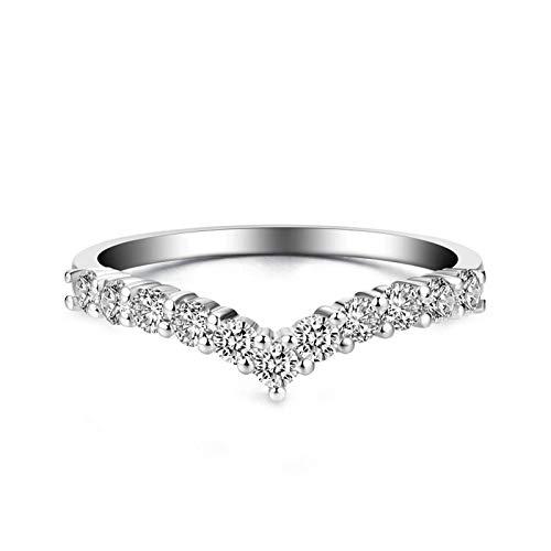 Beydodo Weißgoldring 18 Karat Damen V-Ring mit Diamant 0.17ct Hochzeit Ringe für Frauen Trauringe Große 58 (18.5)