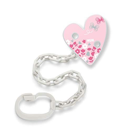 NUK Schnullerkette mit Schnuller-Clip | für Schnuller mit Ring | robust und bruchsicher | lila mit Herz