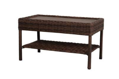 Hampton Bay Wicker Outdoor Coffee Table with Powder-Coated Steel Frame in Brown Finish