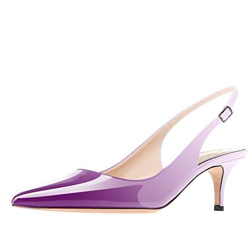 Lutalica Frauen Kitten Heel Spitze Patent Slingback Kleid Pumps Schuhe für Party Patent Lila Größe 41 EU