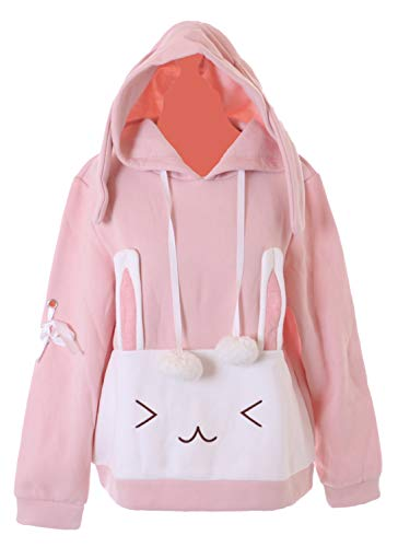TS-252 Rosa Langohr Hase Bunny Kapuzen Grafik Hoodie Pullover Sweatshirt Pastel Goth Kawaii