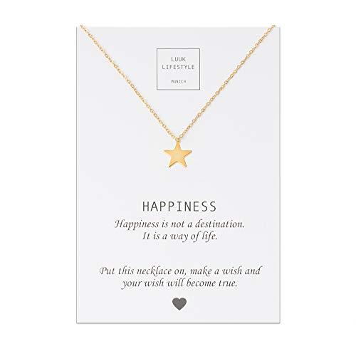 LUUK LIFESTYLE Edelstahl Halskette mit Stern Anhänger und Happiness Spruchkarte, Glücksbringer, Damen Schmuck, gold