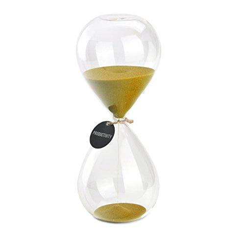 Hourglass Sand Timers - SWISSELITE Biloba Hourglass Sand Timer Inspired Glass/Home, Desk, Office Decor (8Inch-30Mins Gold)