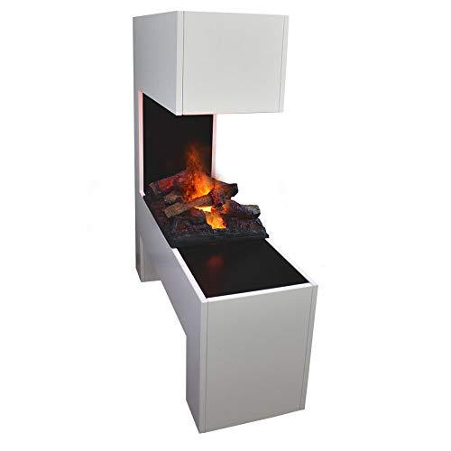 GLOW FIRE Mozart Elektrokamin Opti Myst Cassette 600, 3D Wasserdampf Feuer, elektrischer Raumteiler Standkamin mit Fernbedienung | Regelbarer Flammeneffekt, 120 cm, Weiß